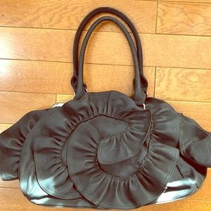 Handbags - Black Pretty Ruffle Handbag
